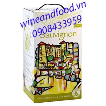 Rượu vang Vignerons Ardechois Sauvignon Blanc bịch 5l