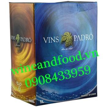 Rượu vang Padro Tempranillo Merlot bịch 5l