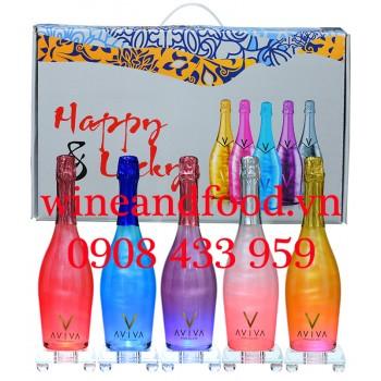 Bộ 5 siêu phẩm rượu vang nổ Aviva kèm đế chuyển màu 75cl