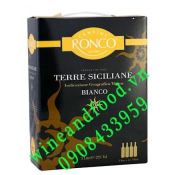 Rượu vang Bianco Terre Siciliane Ronco trắng 3l