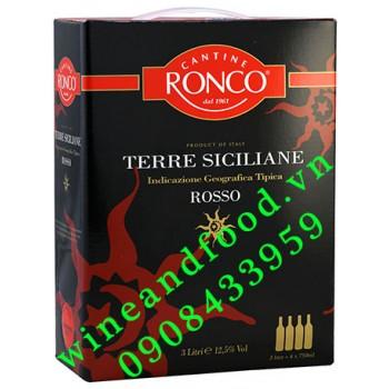 Rượu vang Terre Siciliane Rosso Cantine Ronco 3l