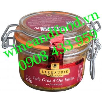 Pate gan Ngỗng Foie Gras D'oie Entier Larnaudie hũ thủy tinh 120g
