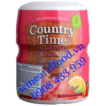 Bột trái cây Country Time Strawberry Lemonade Chanh Dâu 510g