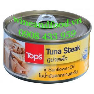Bít tết cá ngừ Steak Tuna Tops đóng hộp 185g