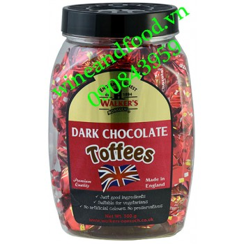Kẹo Walker's Dark Chocolate Toffees hũ 300g