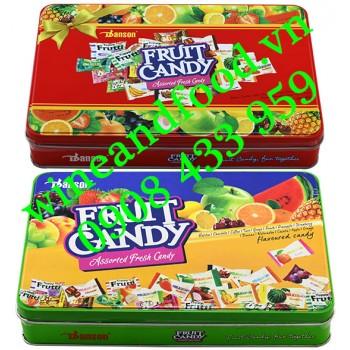 Kẹo trái cây Danson hộp thiếc vuông 200g