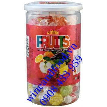 Kẹo trái cây Fruits hỗn hợp Rinda hũ 320g