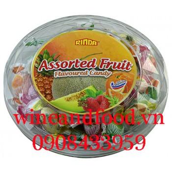 Kẹo trái cây Rinda hộp tròn 250g