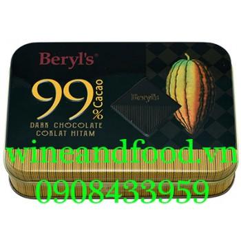 Socola đen 99% Beryl's hộp thiếc 108g
