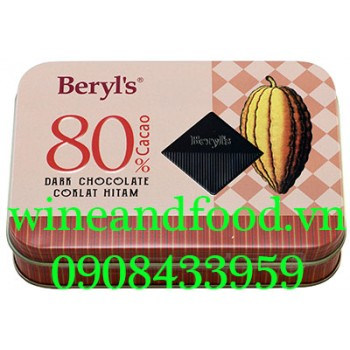 Socola đen 80% Beryl's hộp thiếc 108g