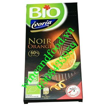Socola đen hương cam Ivoria Bio 60% thanh 100g