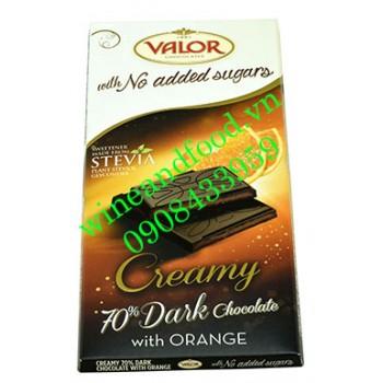 Socola đen nhân kem cam không đường Valor 100g