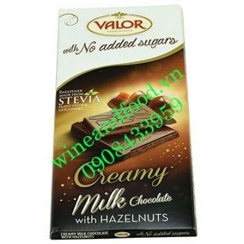 Socola sữa hạt dẻ không đường Valor 100g