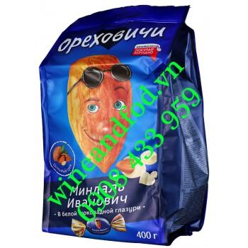 Socola trắng nhân Hạnh Nhân Nga Orekhovichi túi 400g