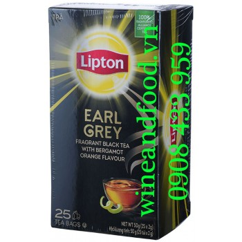 Trà đen Earl Grey Bergamot Orange Lipton túi lọc hộp 25g