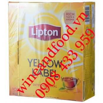 Trà Lipton nhãn vàng Yellow Label International Blend hộp 100 gói