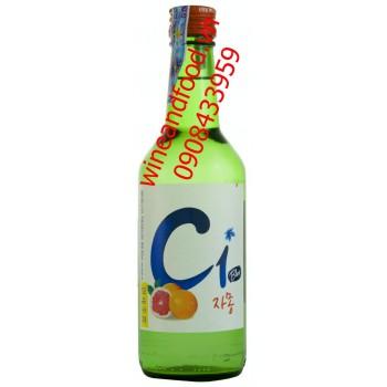 Rượu Soju Hàn Quốc C1 Blue hương bưởi 360ml