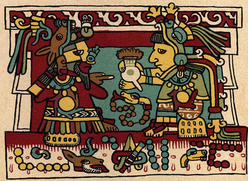 Bức tranh cổ đại mô tả cảnh người Olmec dùng Socola