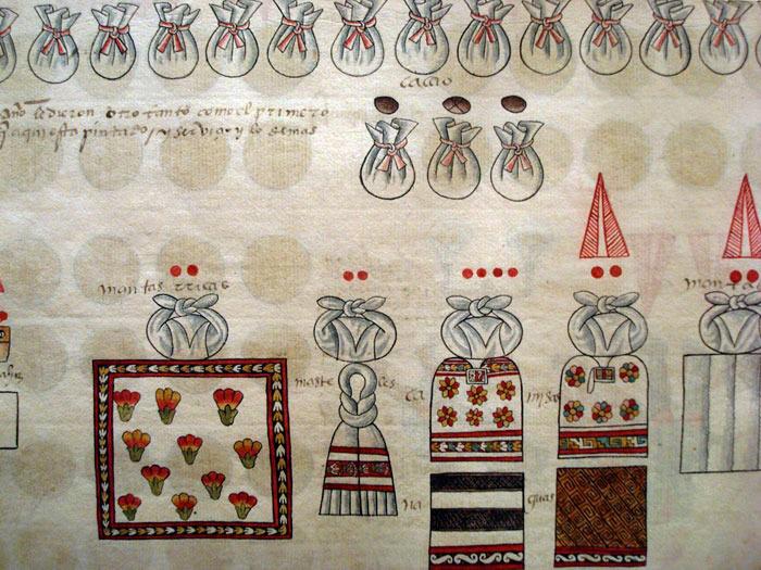 Bức tranh mô tả người Aztec đóng thuế cho Tây Ban Nha bằng hạt Cacao